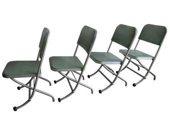 Warren Macarthur Mid-Century Folding Chairs '4' with Mint Green Vinyl Upholstery