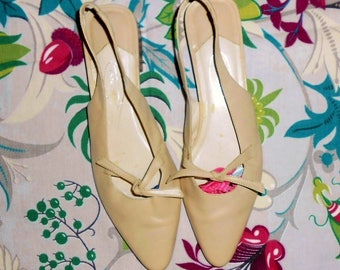 Beige Summer Shoes Size 8 AA Low Heel Slingback Shoes Talbot's Shoes Pointed Toe Flats