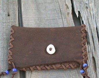 ON SALE Brown leather clutch , Phone case , Checkbook Cover , Tobacco bag