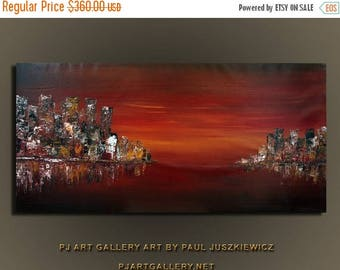17% OFF /ONE WEEK Only/ Unique  The City Seascape by Paul Juszkiewicz 60X30 knife impasto red