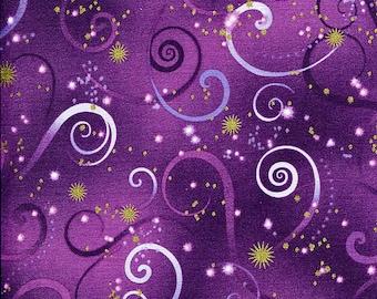 Dance of the Dragonfly Swirl Deep Purple - Kanvas - Half Yard