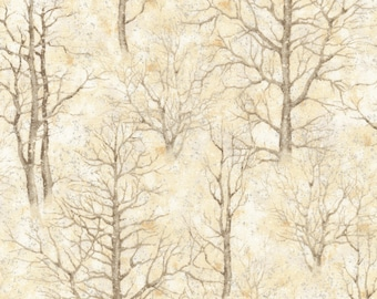 Sound of the Woods 3 Natural Metallic  - Robert Kaufman - Half Yard