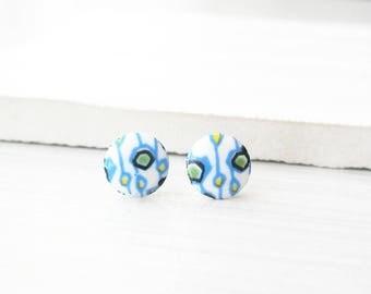 Geometric Studs, Titanium Post Earrings, Mod Jewelry, Funky, Retro, Vintage Glass Cabs, White,  Blue, Green, Nickel Free