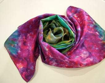 Purple and Green Silk Scarf Abstract Multicoloured Shawl Wrap