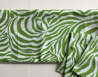 """Green Zebra Stripe Print Fabric 23"""" x 23"""" Piece"""