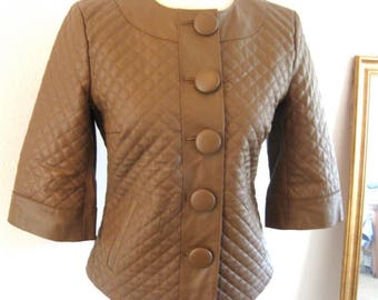 Vintage 80's Terry Lewis Quilted Brown Leather Jacket 3/4 Length Sleeve Satin Lining Large