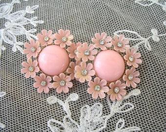 Vintage Plastic & Rhinestone Earrings ~ Pink ~ Clip On