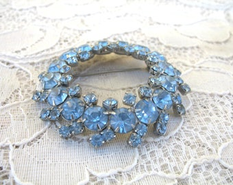 Vintage Large Blue Rhinestone Brooch