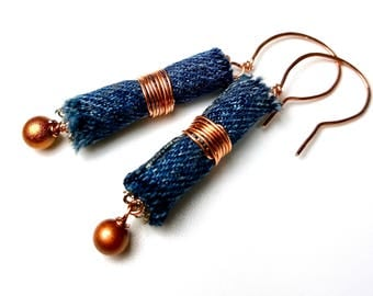 Blue Denim Dangle Earrings, Copper Earrings, Repurposed Jeans Earrings, Denim Jewelry, Upcycled