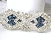 OOAK Antique 1930s Sapphire Hair Comb OR Wedding Dress Sash Brooch, Art Deco Bridal Navy Blue Paste Rhinestone TRUE Vintage Gatsby Hairpiece