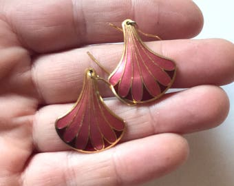 Vintage Cloisonne Scallop Fan Dangle  Earrings
