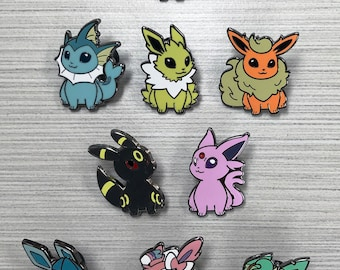 Pokemon Eeveelution Hard Enamel Pins - Eevee Vaporeon Flareon Jolteon Espeon Umbreon Leafeon Glaceon Sylveon
