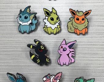 Pokemon Eeveelution Hard Enamel Pins - Eevee Vaporeon Flareon Jolteon Espeon Umbreon Leafeon Glaceon Sylveon