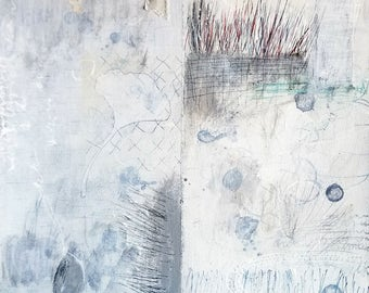 Index of Days no. 1 / Mixed Media Art with Collage and Stitching / Mixed Media Drawing on Paper