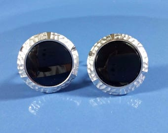 Vintage Cufflinks Sterling Silver Black Onyx Round Swivel Post Silver and Black Very Good Condition Standout Style 1 Inch 2.54cm Diameter