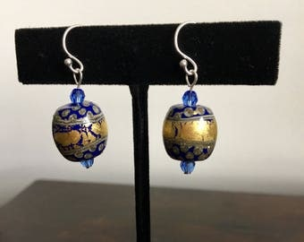 Earrings: Lampwork glass, cobalt blue and gold