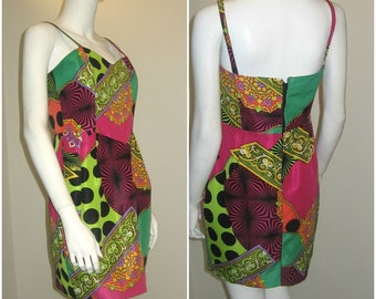 80s 90s vintage psychedelic print mini dress