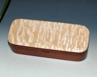 Handmade Wooden Pen Box - Quilted Maple on Jarrah by BurlWoodBox - Desk Box, Gift Box,Small Wood Jewelry Box, Small Wooden Box, Memory Boxes