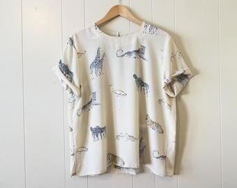 Safari Print Blouse Animal Print Tan Giraffe Leopard Tiger Shirt 90s Top Oversized Large XL
