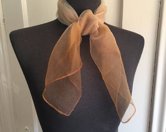 Vintage Chiffon Scarf, 60's Sheer Scarf, Brown and White Ombre, Double Sheer 50's Rockabilly Style, Headscarf, Hair Wrap