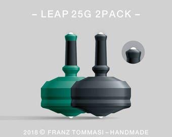 LEAP 25G 2PACK Green-Black – Value-priced set of precision handmade polymer spin tops with dual ceramic tip and rubber grip