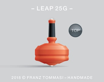 Leap 25G (Orange) – Spin top with dual ceramic tip and rubber grip