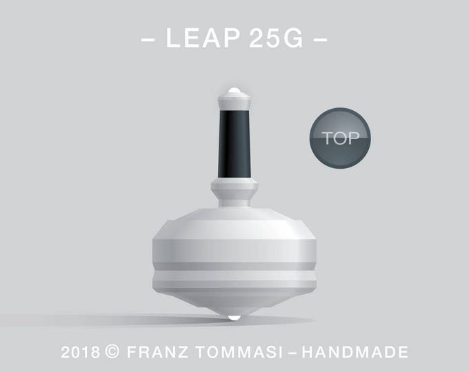LEAP 25G White – Precision handmade spin top with  dual ceramic tip and integrated rubber grip