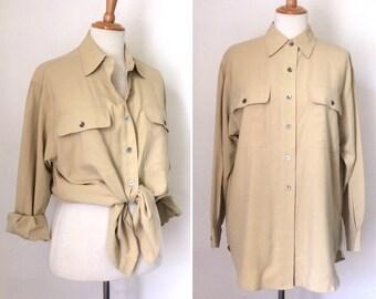 Vintage 1990s ANNE KLEIN beige silk pocket shirt / relaxed fit nineties button-down long khaki shirt - medium