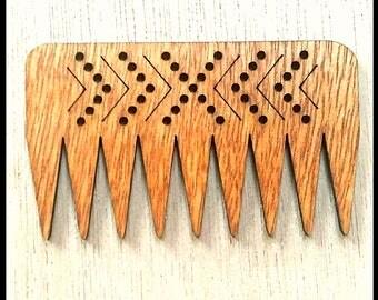 "Stitchable ""Chevron"" Wooden Weaving Com/ Beater DIY  *Cherry Finish*"
