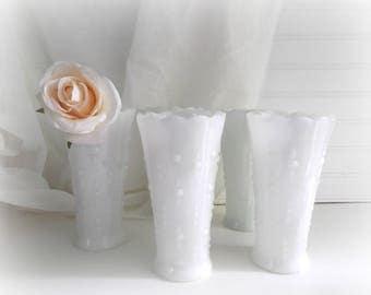 Vintage Milk Glass Vases, Tear Drop Pattern, Wedding Vases, Set of 5, Boho Wedding Centerpieces, Bridal Shower Decor