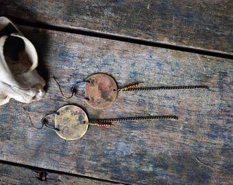 Dusty summers/ handmade brass dangle earrings