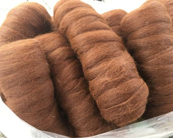 Dark brown alpaca roving natural and undyed 4oz bumps