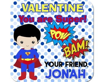 Personalized Valentines Day Stickers Super Hero Pow Bam Square Glossy Designer Stickers