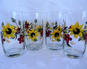 Drinking glasses, hand painted glasses, sunflower glasses, housewares, beverage glasses, glasses with painted flowers