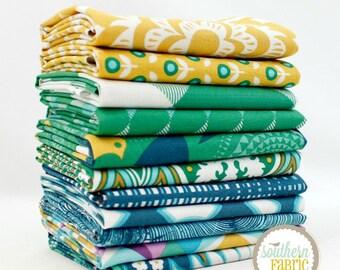"""Modernist - Emerald - Half Yard Bundle - 11 - 18""""x44"""" Cuts - Joel Dewberry - Free Spirit Quilt Fabric (JD.MO.EM.11FHY)"""