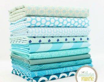 Aqua - 10 Half Yard Bundle (LB.10HY) by Mixed Designers for Southern Fabric