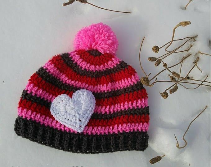 Valentines day hat,Custom Made,Crochet Hat,Heart Hat,Striped Hat,Mens Hat,Women Hat,Teen Hat, Child Hat,Baby Hat,Beanie Hat,Custom Hat
