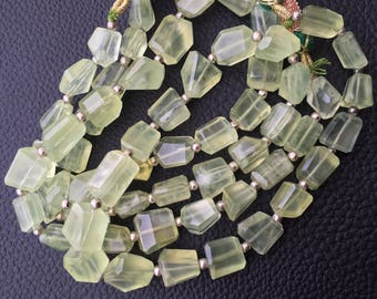 Brand New Item, 8 Inch Strand, Natural GREEN PREHNITE faceted Nuggets Briolettes, 12-10mm Size Aprx,Great Value Item
