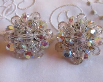 Vintage Silver Tone Glass Crystal Beaded Clip On Earrings