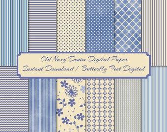 Navy Blue and Beige Digital Paper Pack, Digital Texture, 12 Printable Designs, Scrapbooking, Card Making, Instant Download