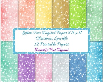Digital Christmas Sparkle Paper, Scrapbooking, Card Making, Holiday Papers, Instant Download