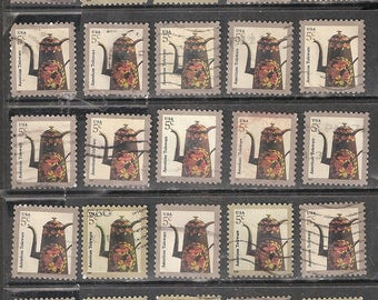 25 Toleware COFFEE POT Used & Cancelled U.S. 5c Postage Stamps (Brown and Orange on Tan)