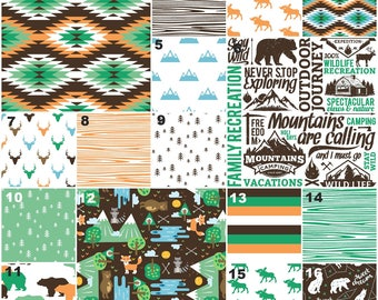 Mountains Baby Bedding Boy, Bear Crib Bedding, Moose, Mountains, Tribal, Forest Woodland Crib Bedding in Brown, Green, Orange and Blue