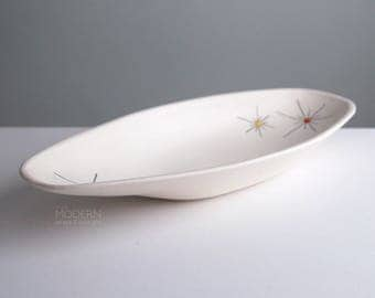 Vintage Jaru Art Products Starburst White Boat Centerpiece Dish Bowl California Pottery