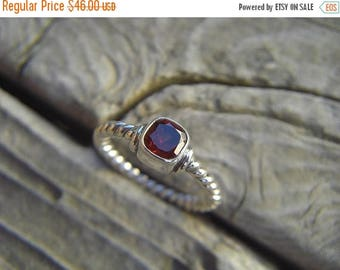 ON SALE Deep red garnet ring in sterling silver