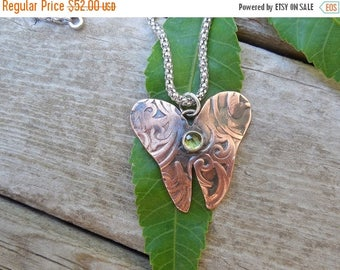 ON SALE Butterfly necklace handmade in copper and sterling silver