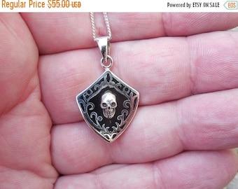 ON SALE Sterling silver enameled skull necklace