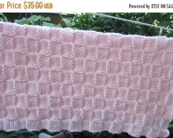 Christmas in July Knit baby blanket smaller sized (pink)