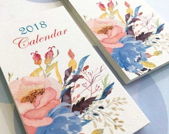 2018 Calendar, Set of TWO, Mini Calendar, Business Card Calendar, Set of 2