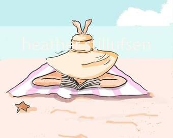 Beach Reading Wall Art - Beach House Art Digital Art Print - Pool - Beach Summer Art